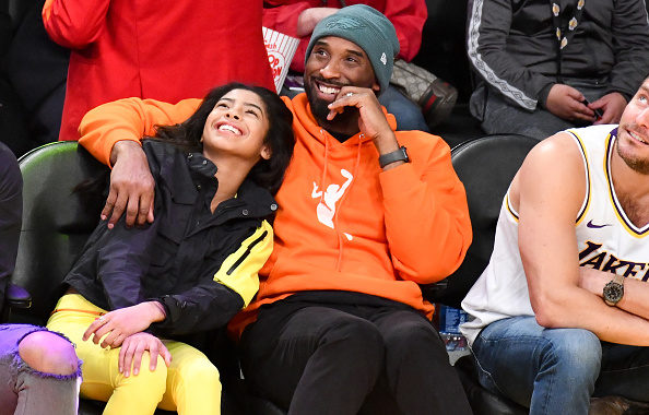LOS ANGELES, CALIFORNIA - DECEMBER 29: Kobe Bryant and daughter Gianna Bryant attend a basketball game between the Los Angeles Lakers and the Dallas Mavericks at Staples Center on December 29, 2019 in Los Angeles, California. (Photo by Allen Berezovsky/Getty Images)
